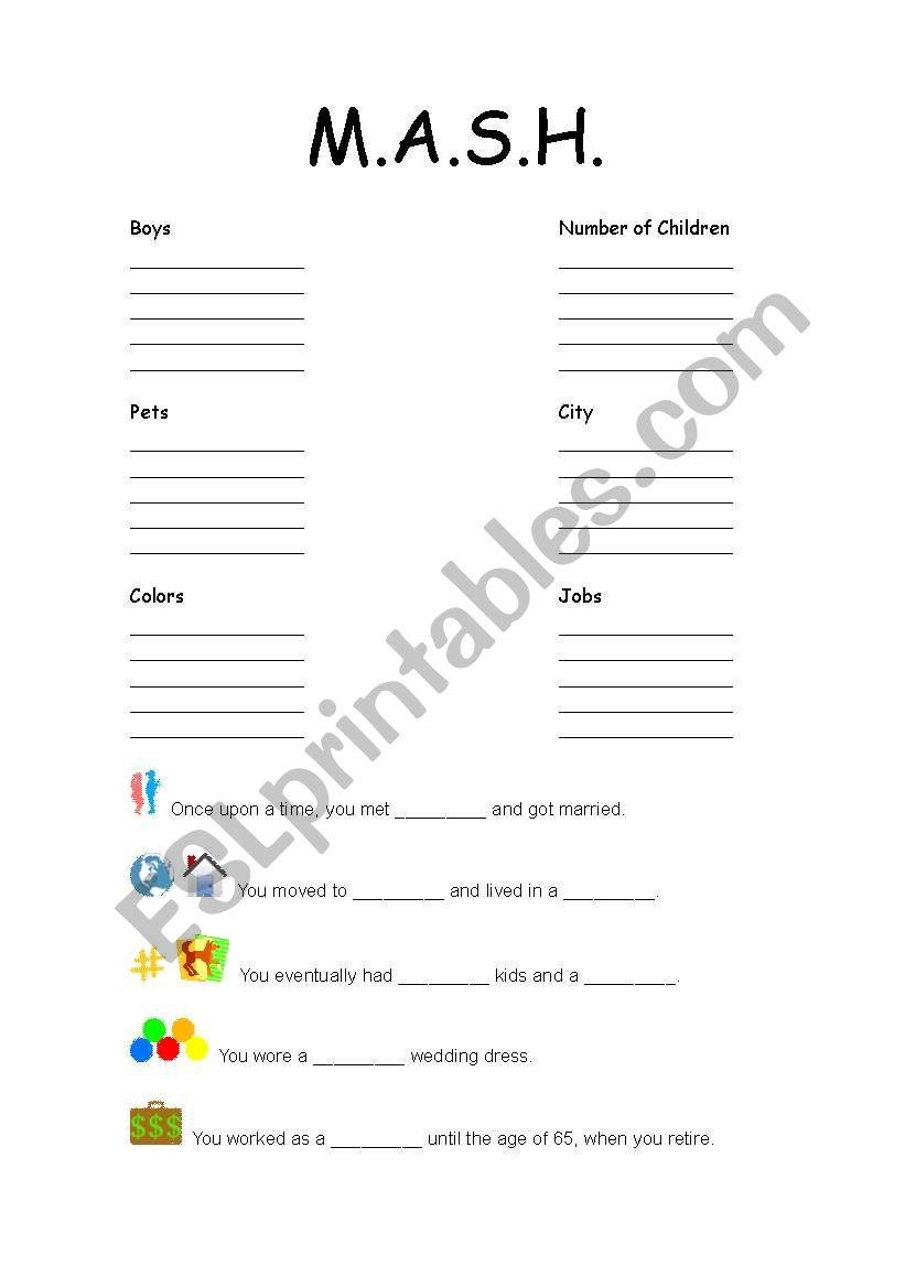 English worksheets: MASH Fortune Teller Worksheet