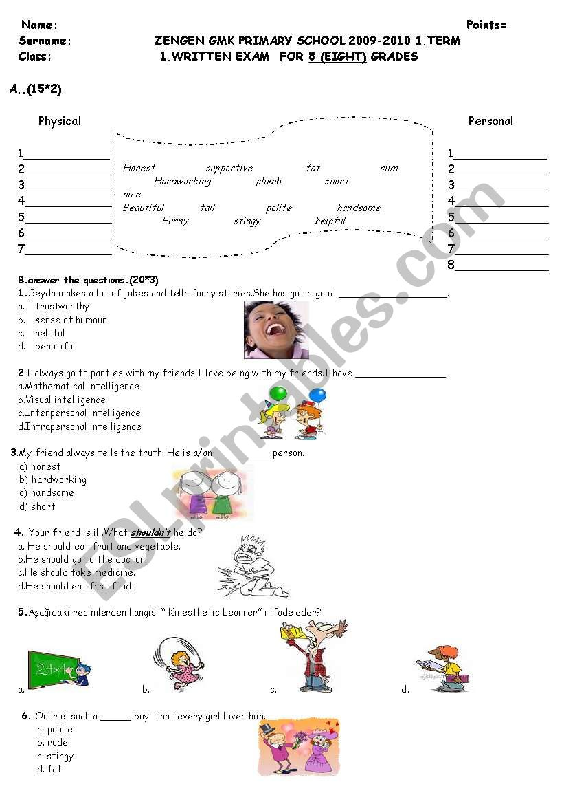 medium resolution of 8th grade writing exam - ESL worksheet by dilekche