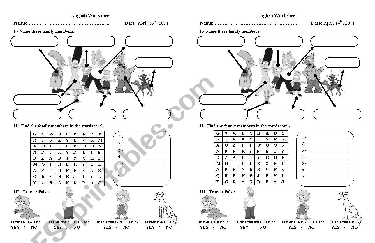 Simpsons Family Worksheet