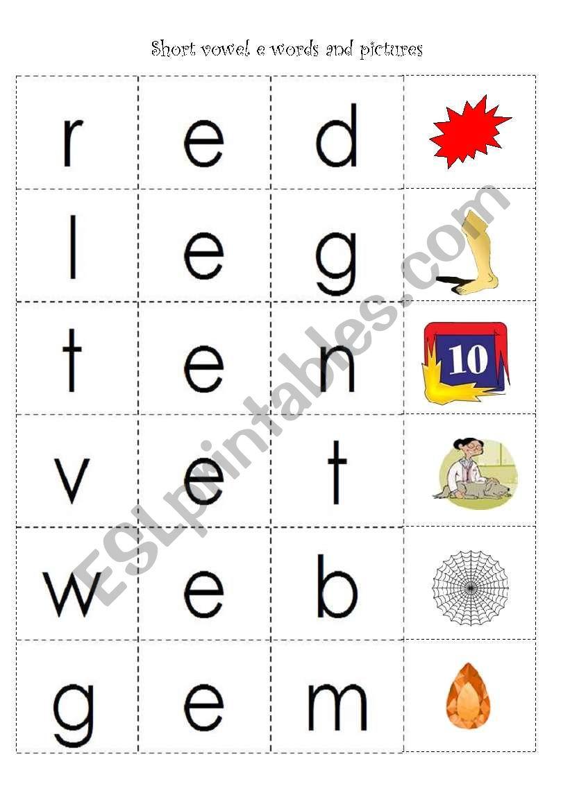 hight resolution of cvc words with short vowel e - ESL worksheet by fleur