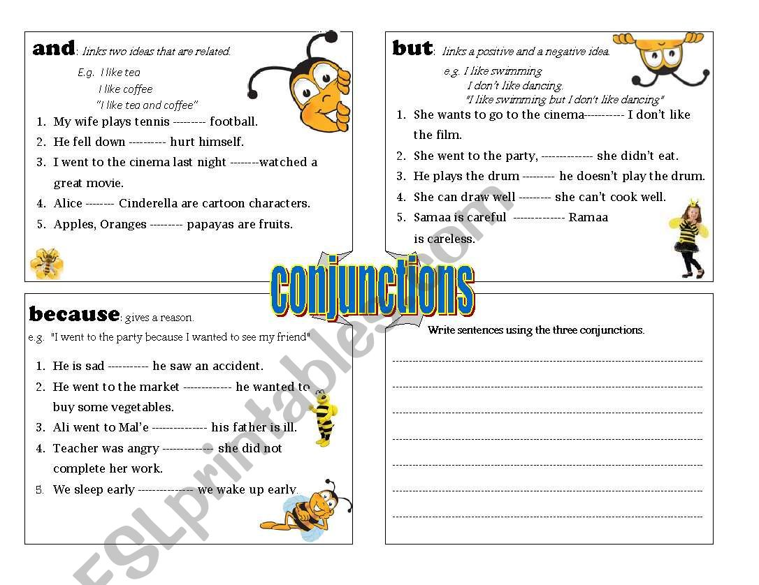 Esl Worksheet On Conjunctions