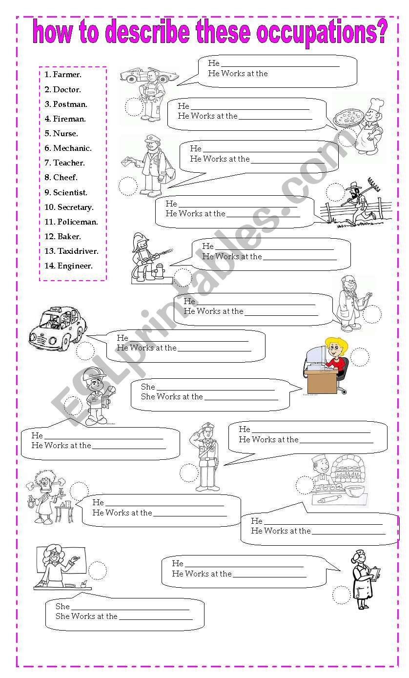 hight resolution of how to describe occupations - ESL worksheet by misscaren2010
