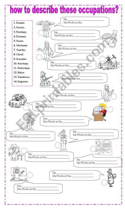small resolution of how to describe occupations - ESL worksheet by misscaren2010