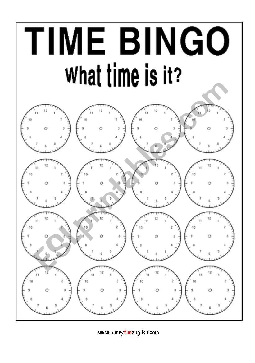 English worksheets: Time Bingo
