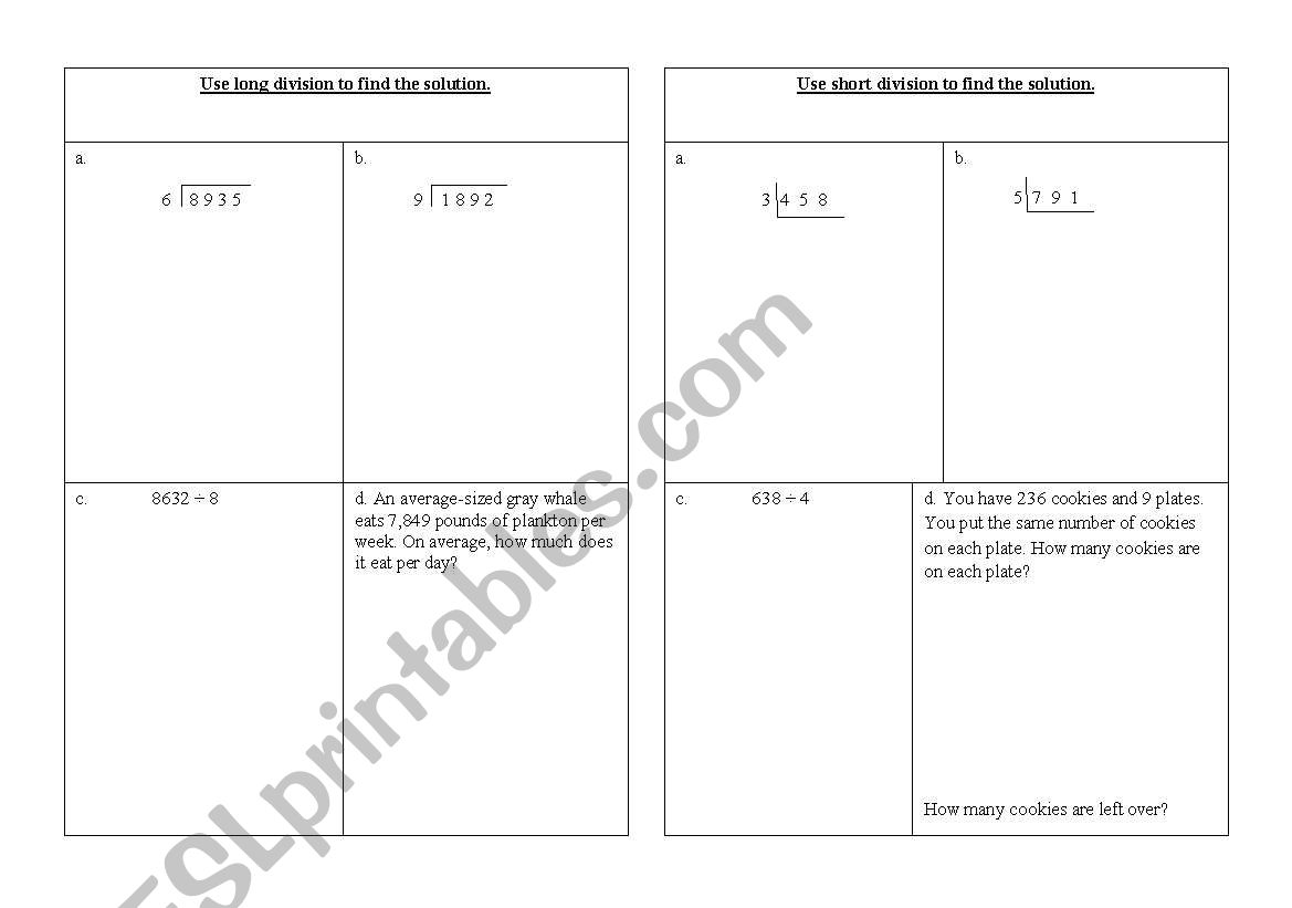 English Worksheets Long And Short Division