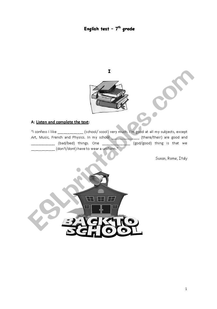 English worksheets: test 7th graders ( students with