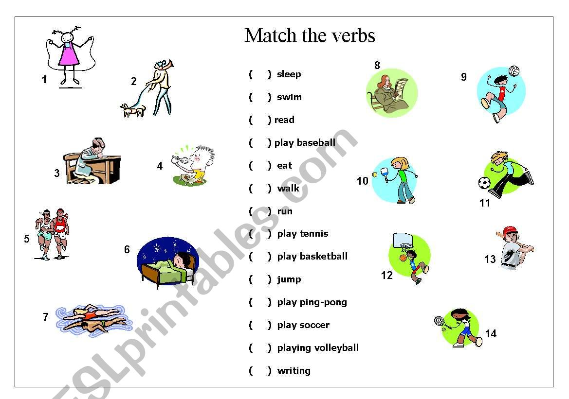 Verbs Matching Exercise