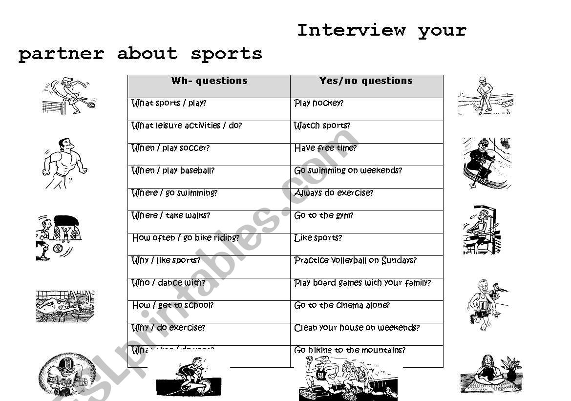 Interview Your Partner About Sports