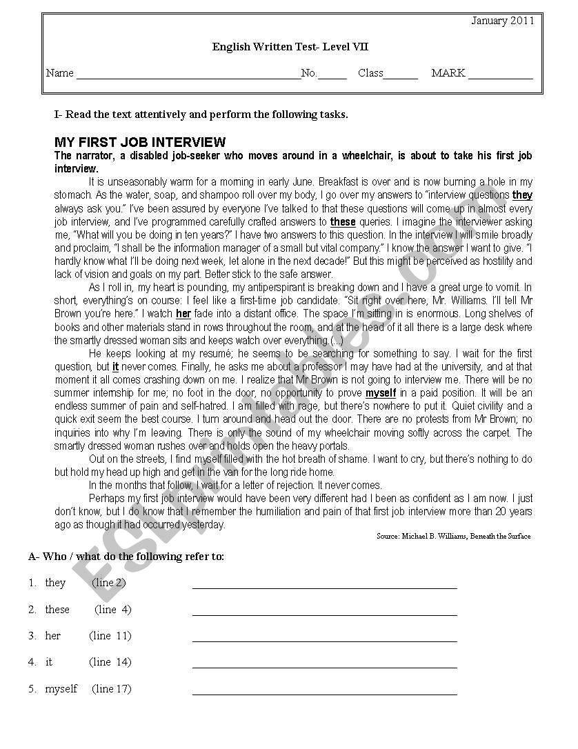 hight resolution of Test \Multiculturalism\ for 11th graders - ESL worksheet by Fifas