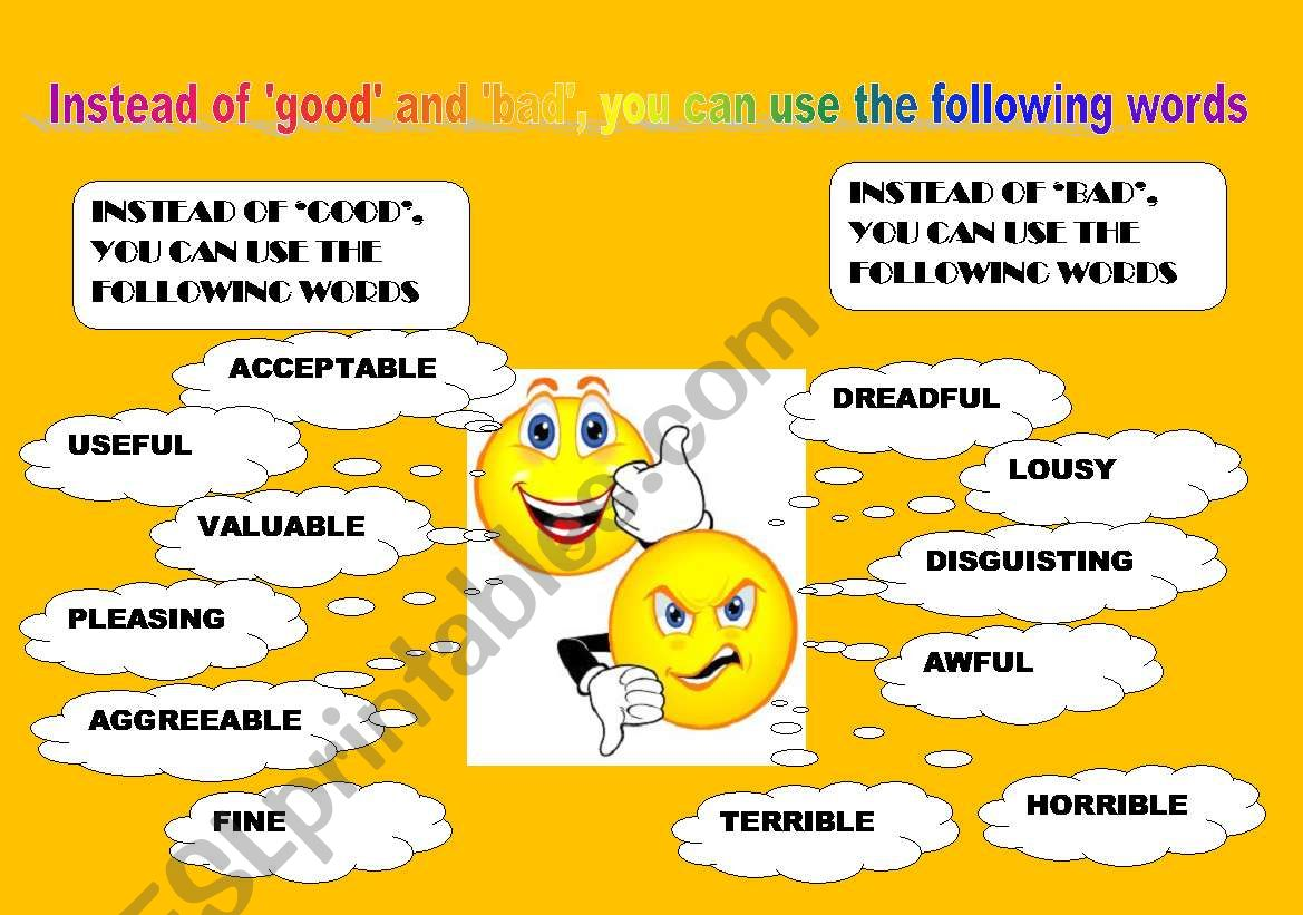 Useful Vocabuly To Be Used Instead Of Good Bad Very