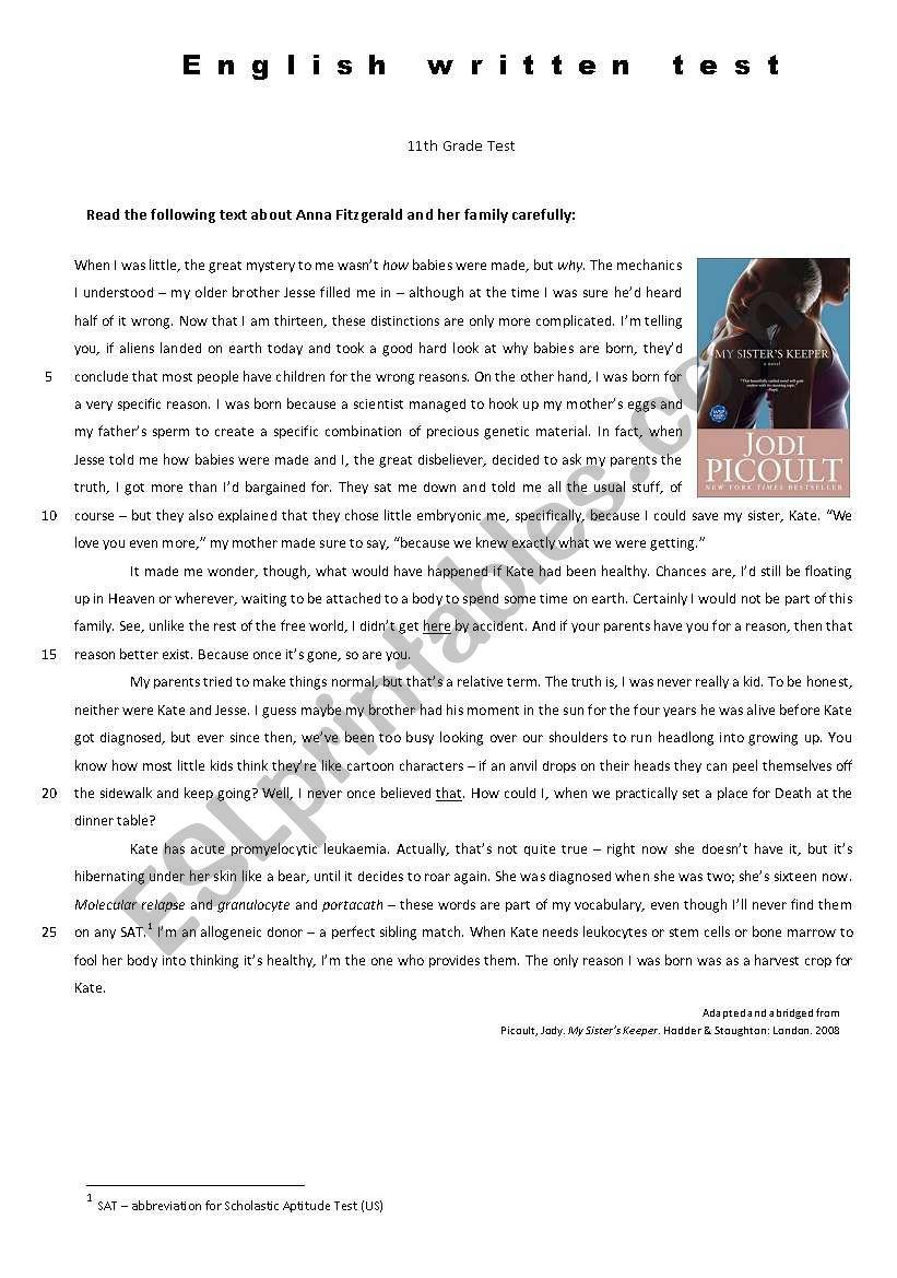 medium resolution of 11th Grade Test - My Sister´s Keeper - ESL worksheet by melcoimbra