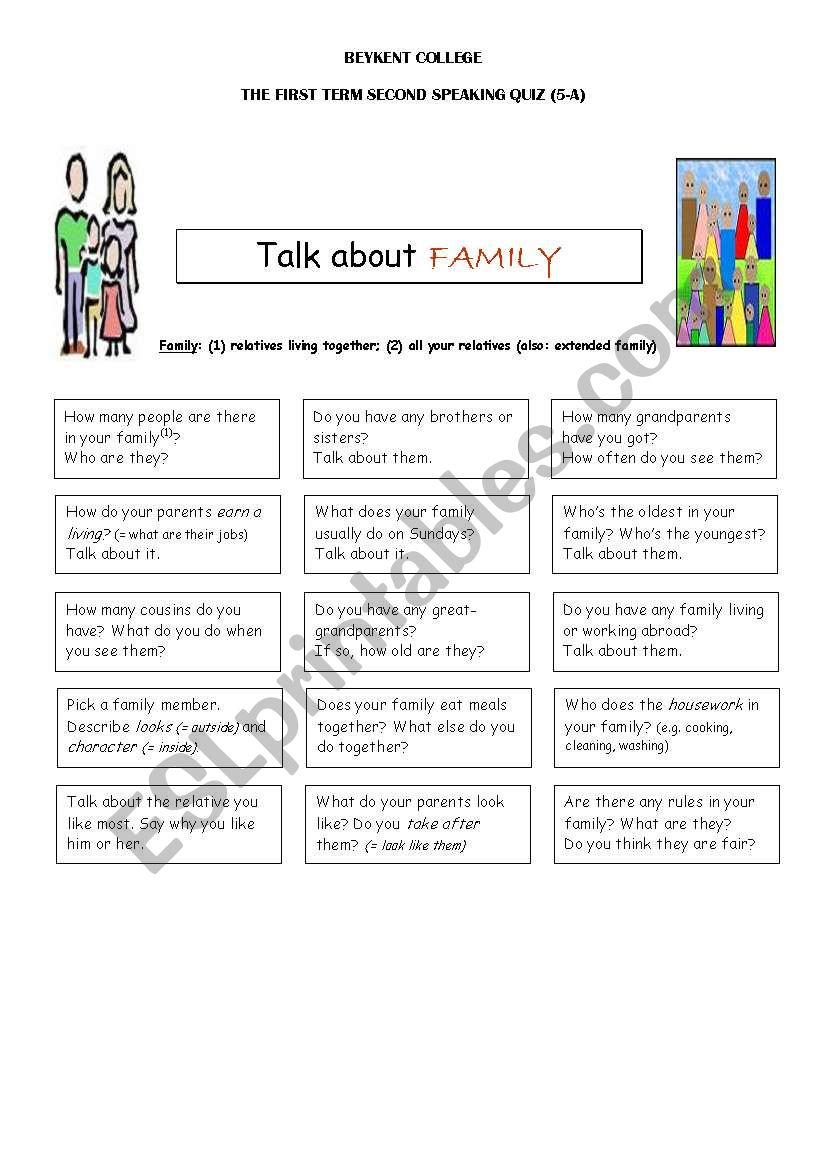 hight resolution of speaking worksheet for 5th grade about family members - ESL worksheet by  shıbumı