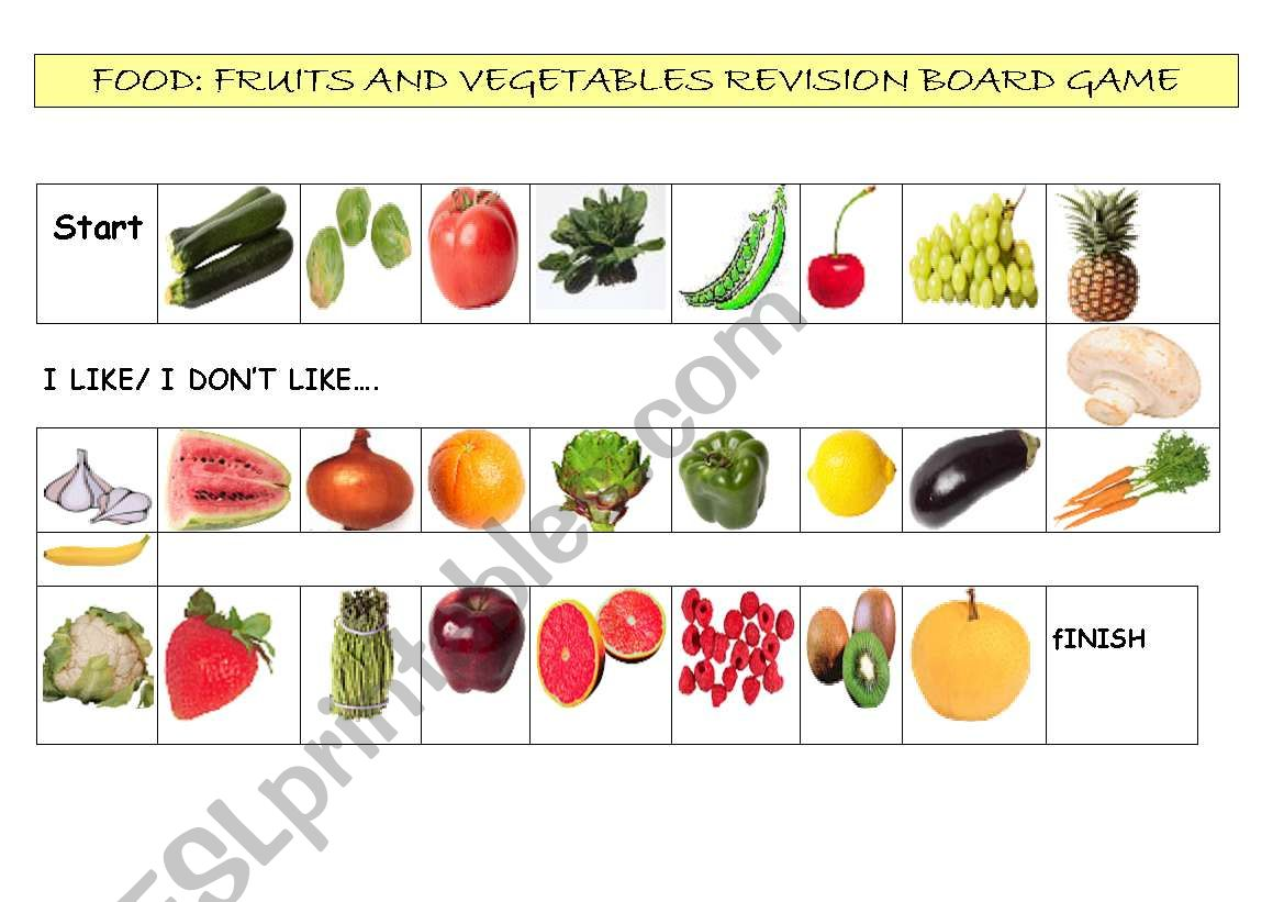Fruits And Vegetables Revision Board Game