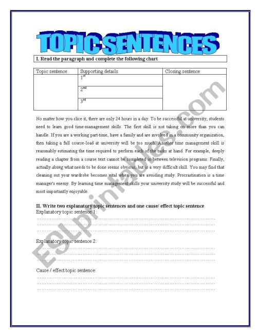 small resolution of Topic sentences - ESL worksheet by yessi