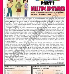 Bullying series - Part 3 - Bullying upstander - ESL worksheet by Zmarques [ 1169 x 821 Pixel ]