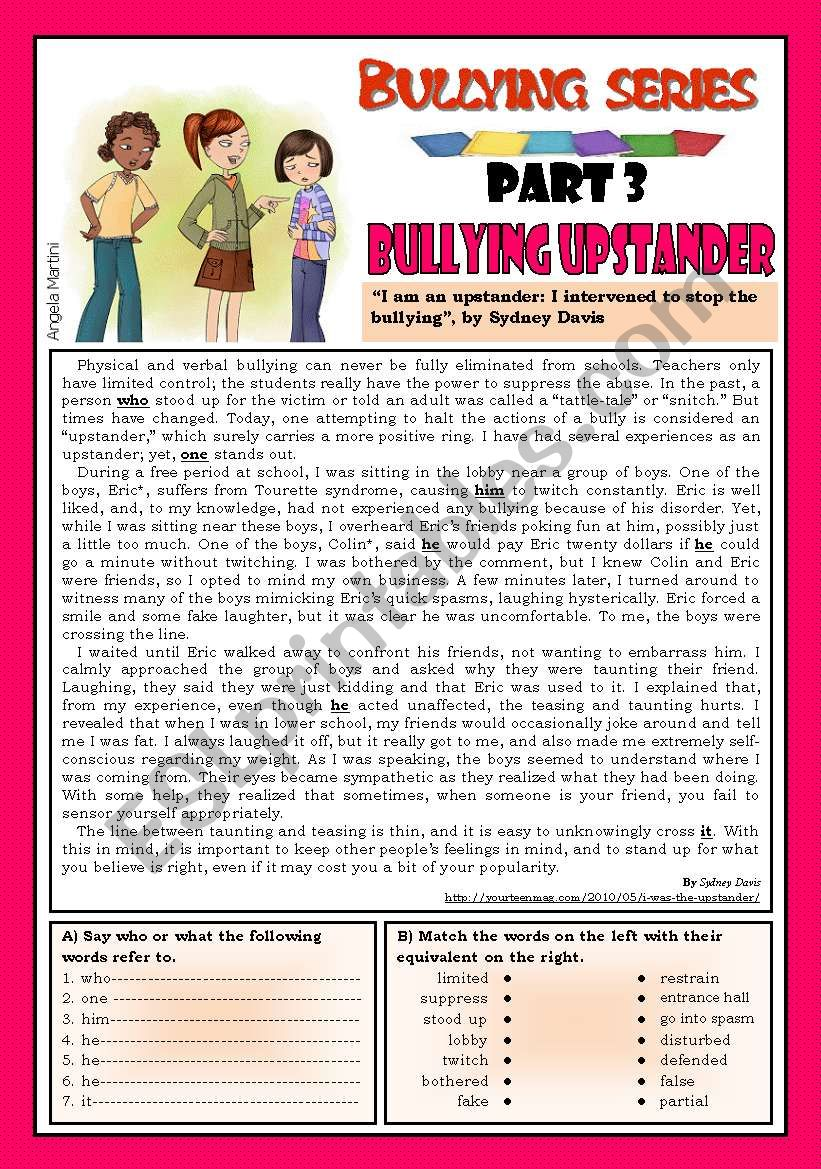 medium resolution of Bullying series - Part 3 - Bullying upstander - ESL worksheet by Zmarques