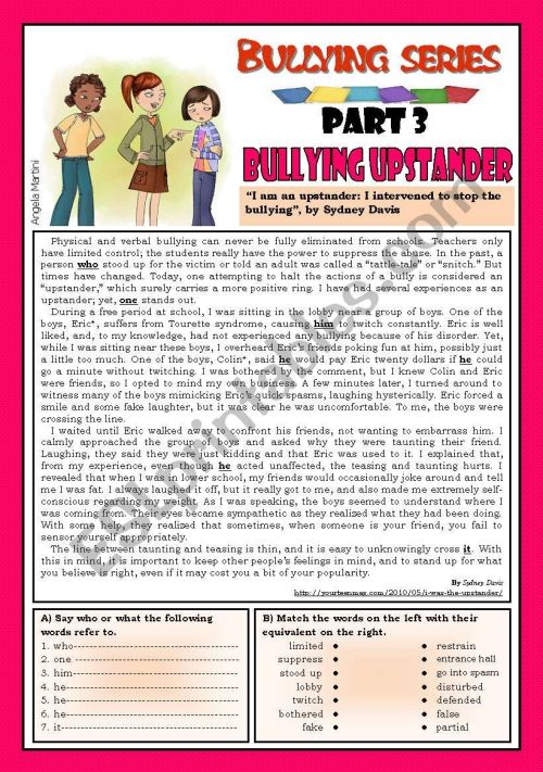 small resolution of Bullying series - Part 3 - Bullying upstander - ESL worksheet by Zmarques