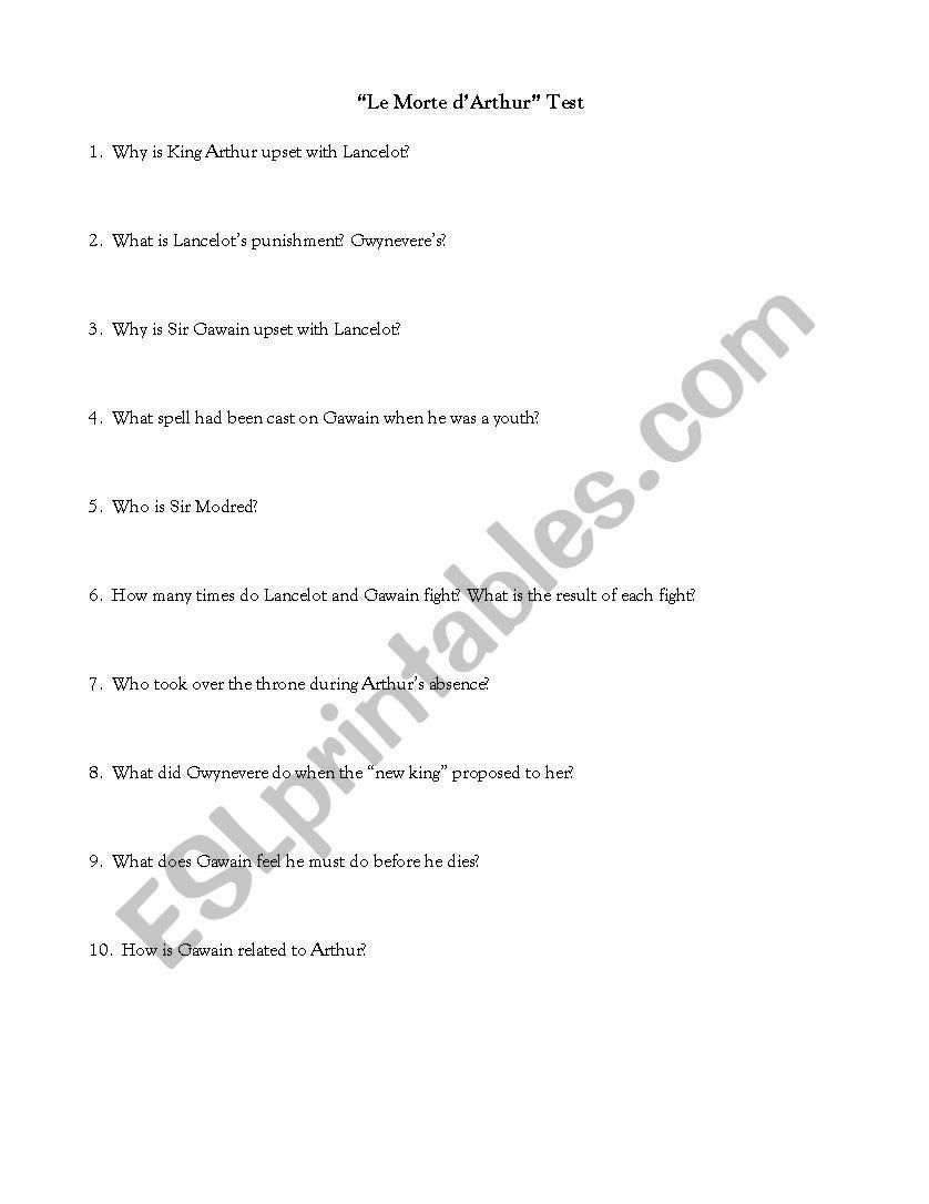 English worksheets: Le Morte d´Arthur Worksheet/Test