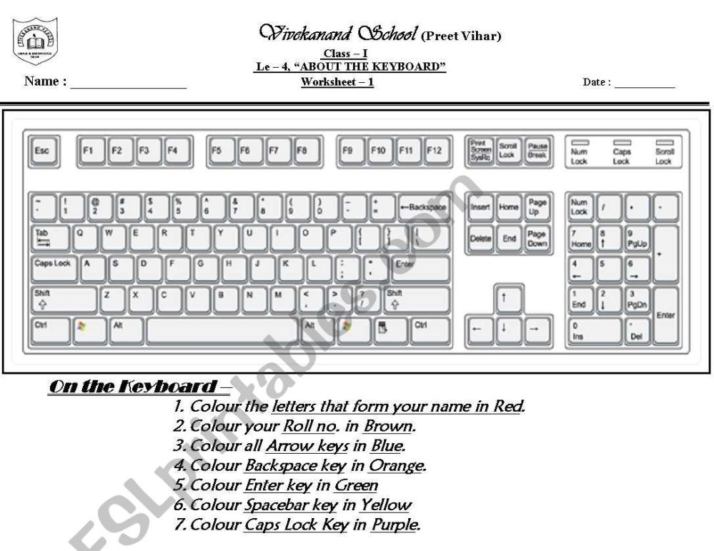 medium resolution of computer keyboard - ESL worksheet by mohita