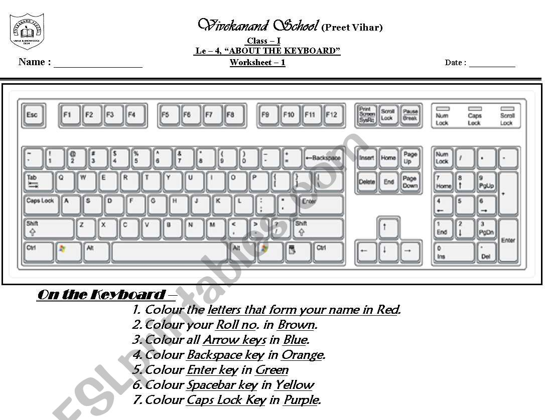hight resolution of computer keyboard - ESL worksheet by mohita