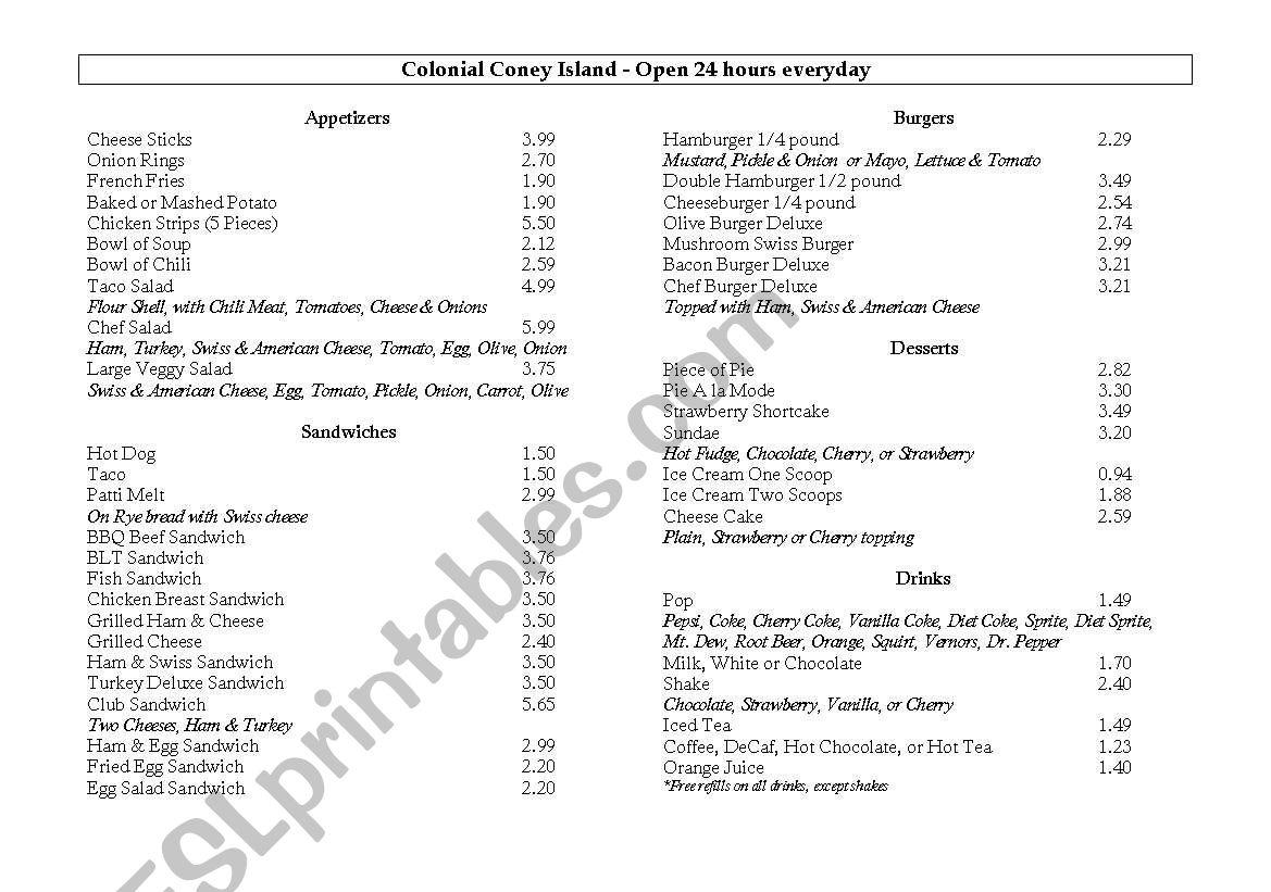 English Worksheets American Menu