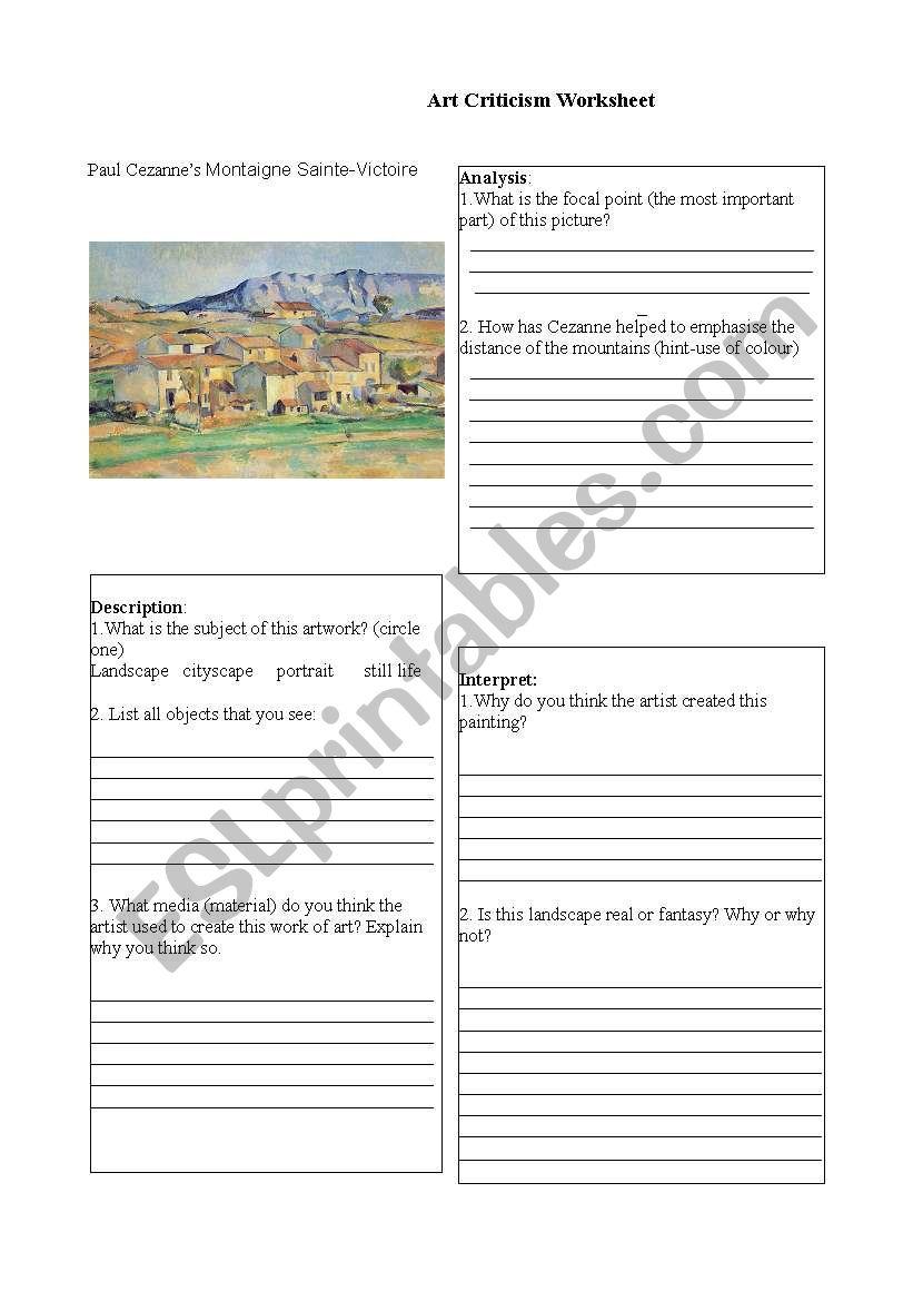 English worksheets Cezanne Landscape worksheet