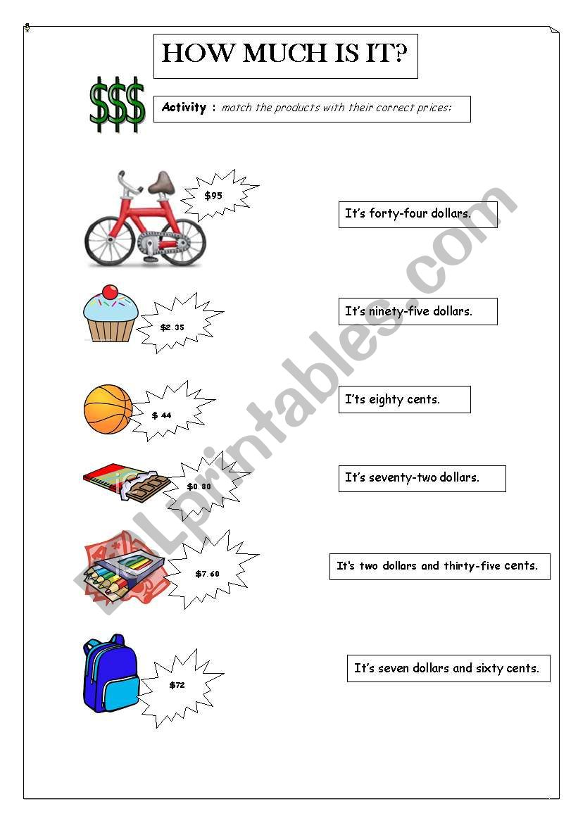 How much is it  ESL worksheet by Ro Paias