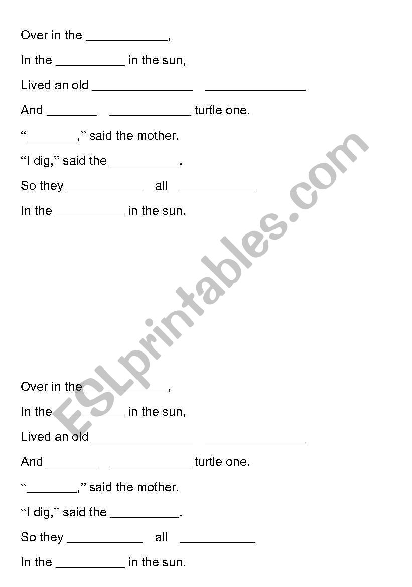 English worksheets: Over in the Meadow CLOZE reading