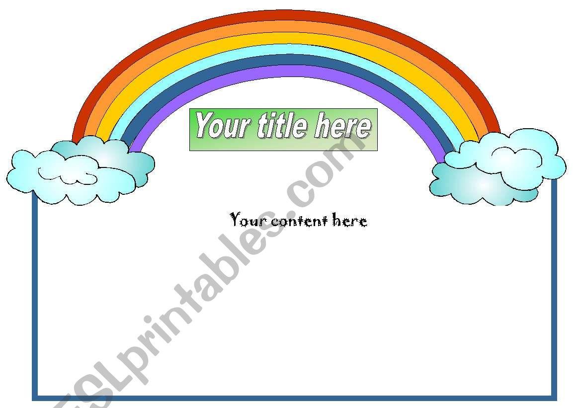 English Worksheets Rainbow Template
