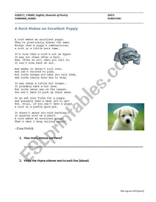 small resolution of Elements of Poetry (Read poem \u0026 find metaphor