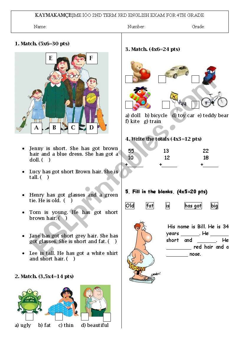 hight resolution of 4th grade exam including toys