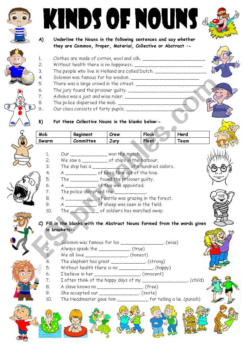 medium resolution of EXERCISES ON TYPES OF NOUNS - 4 Pages (Editable with Key) - ESL worksheet  by vikral