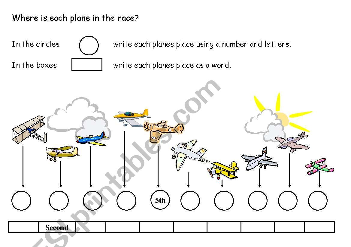 Ordinal Numbers Plane Race