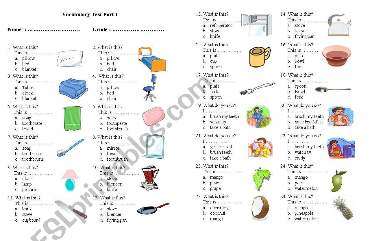 Vocabulary Test Second Grade