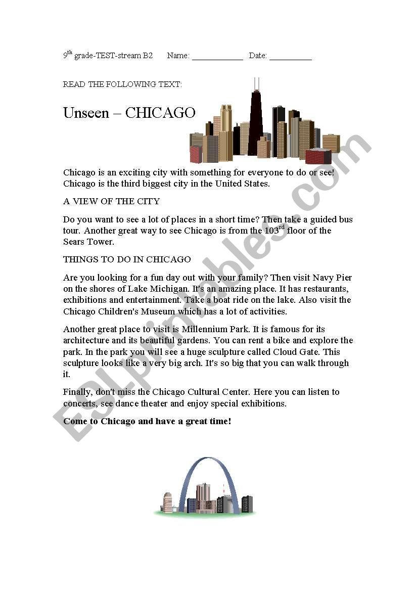 medium resolution of reading passage on Chicago