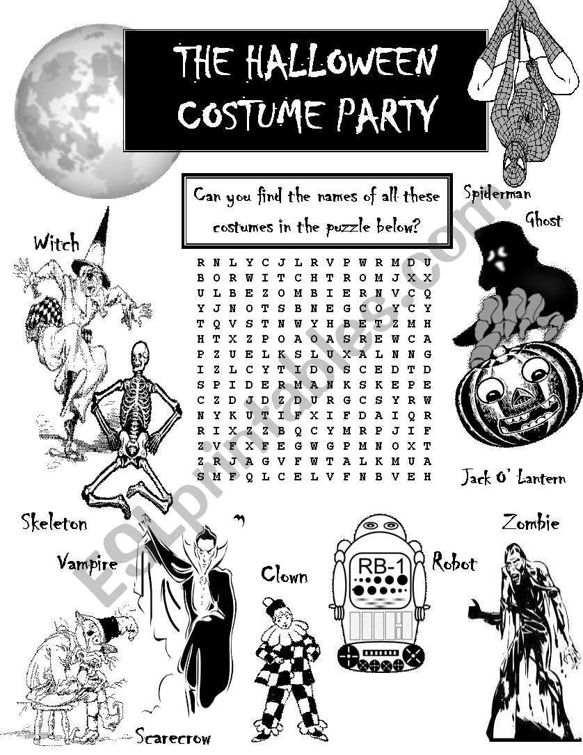 English worksheets: Halloween Costume Party Word search