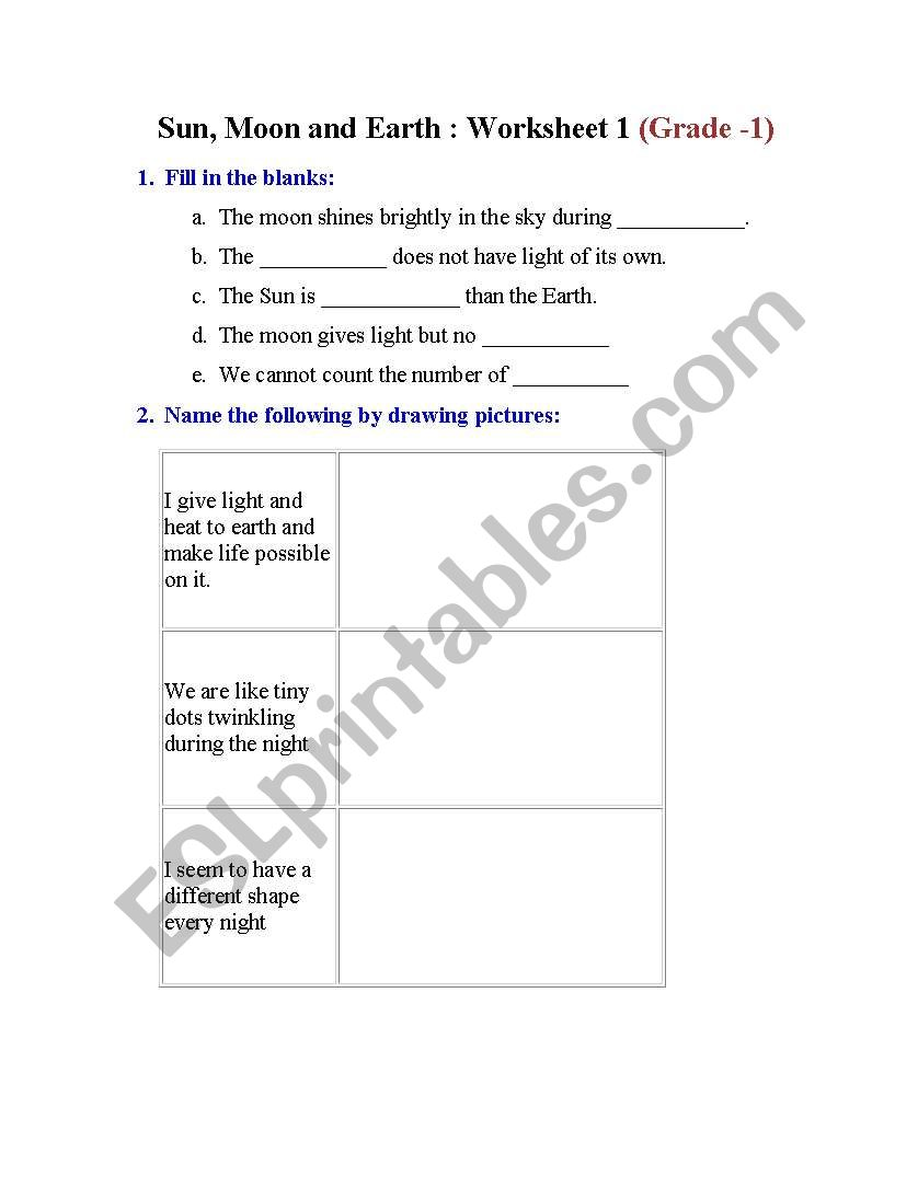 hight resolution of English worksheets: Sun moon and Earth