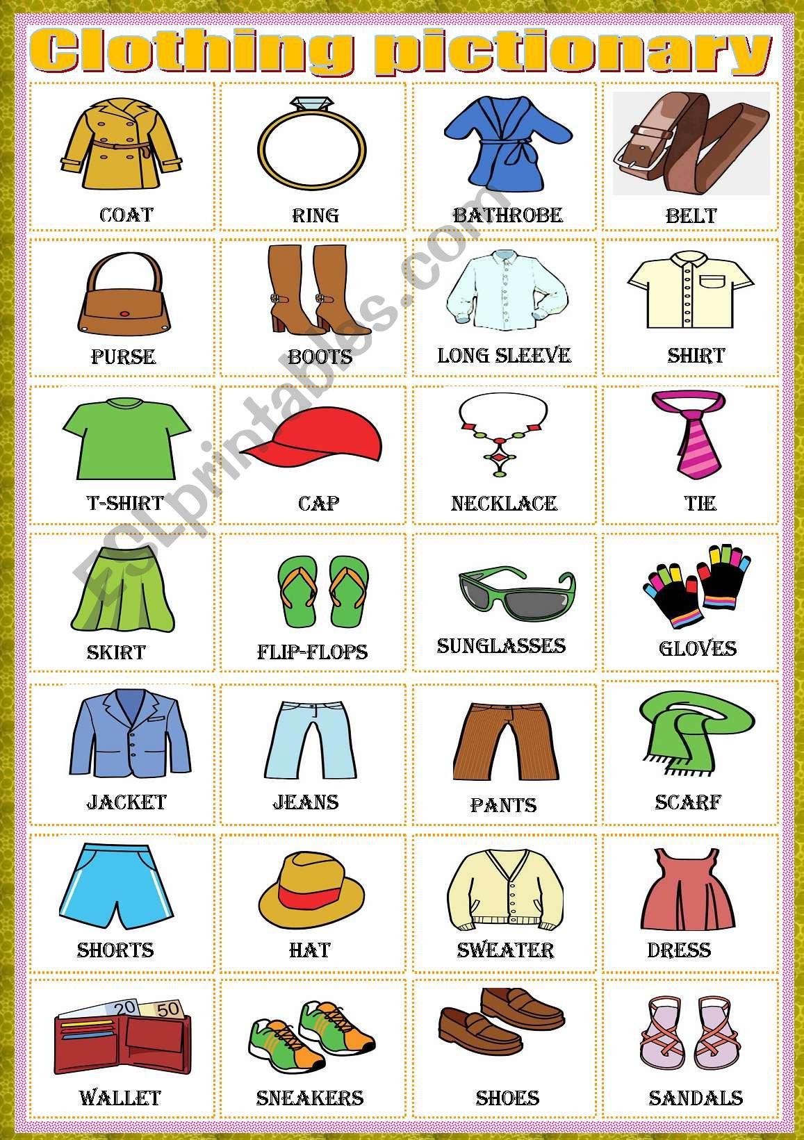 Clothing Pictionary