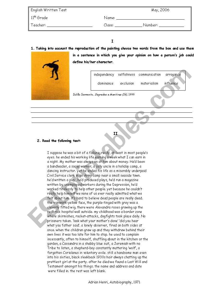 medium resolution of English Test -11th grade - ESL worksheet by petite_helene