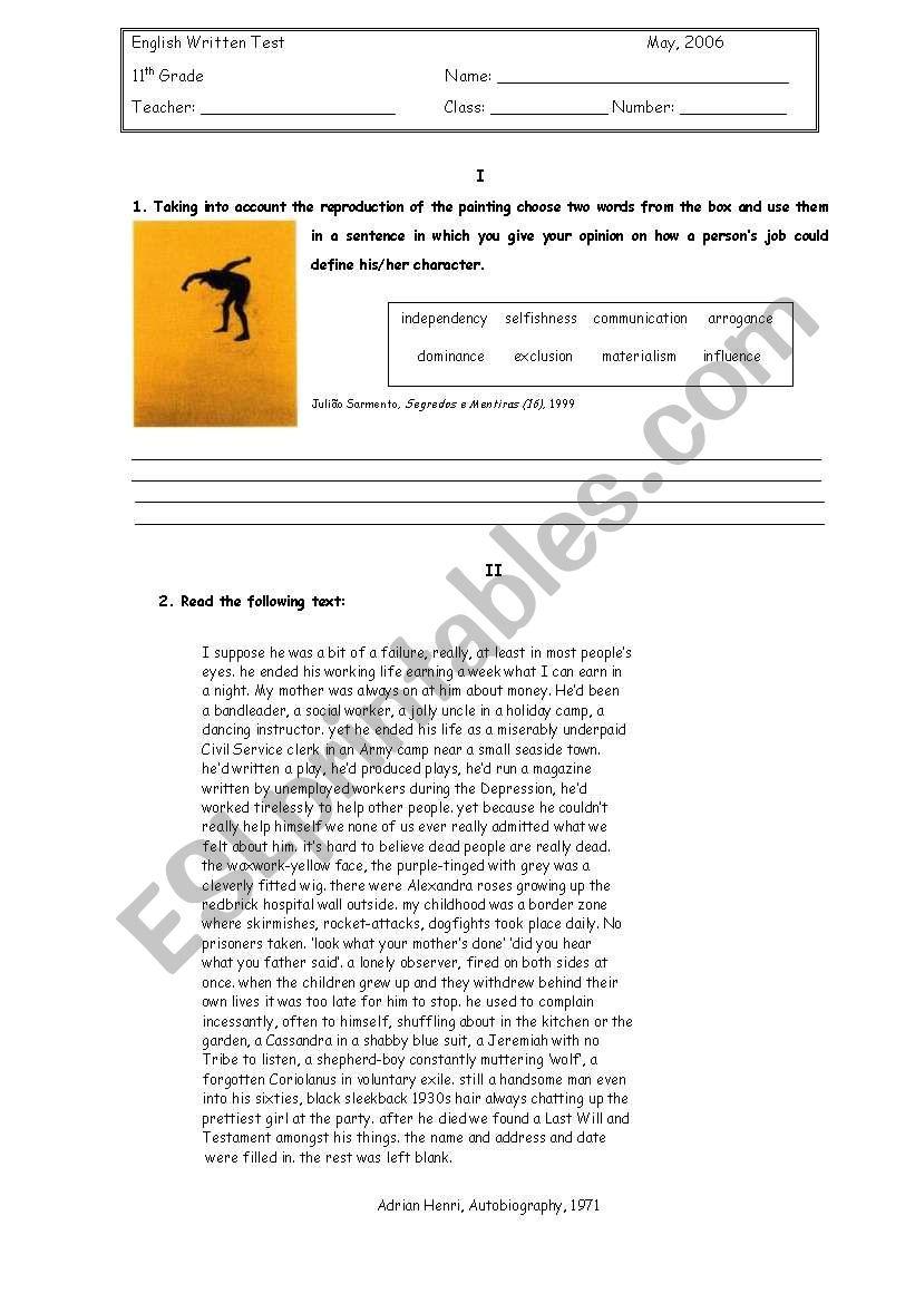 hight resolution of English Test -11th grade - ESL worksheet by petite_helene