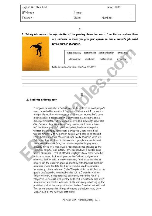 small resolution of English Test -11th grade - ESL worksheet by petite_helene