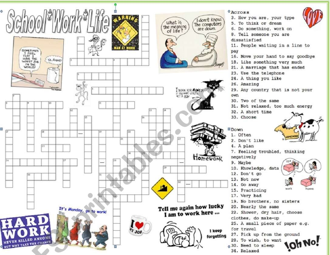 School Work And Life Vocabulary Crossword