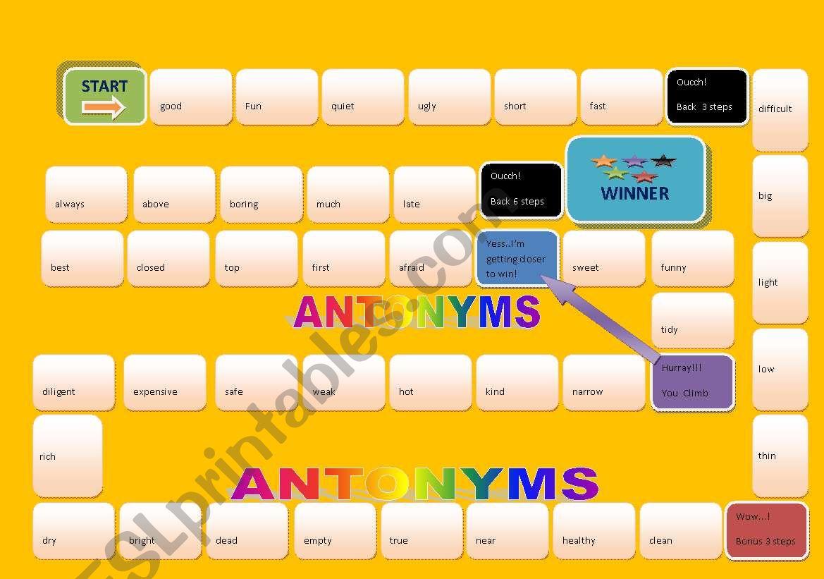 Antonyms Board Game