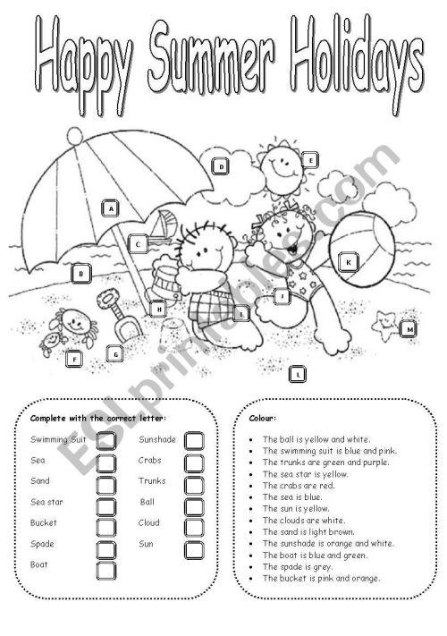 small resolution of Happy Summer Holidays - ESL worksheet by Carla74