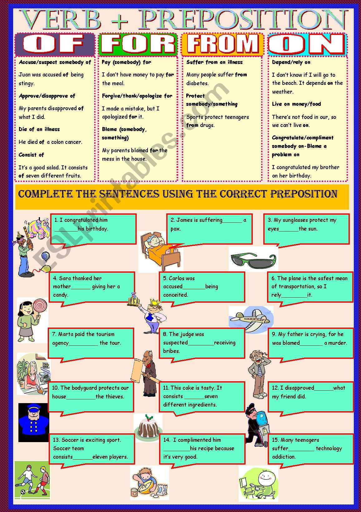 Verbs Preposition Of For From On