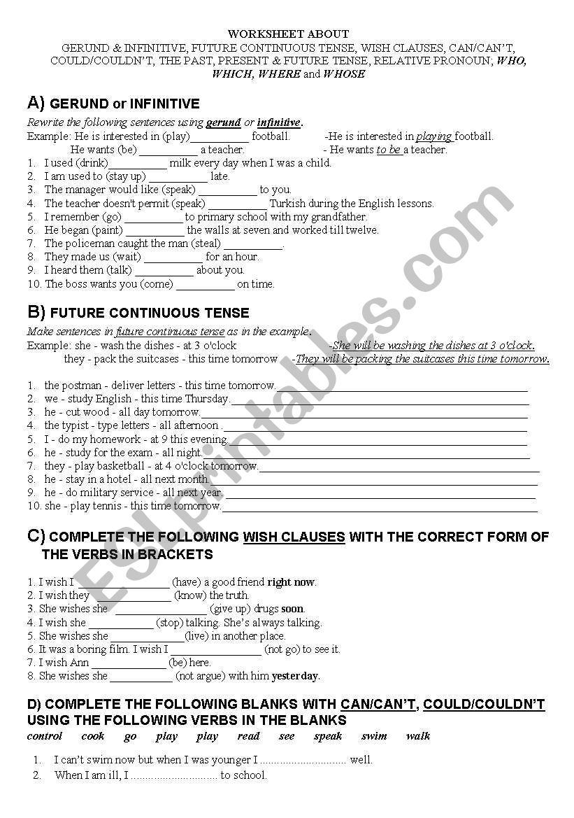 hight resolution of A COMPREHENSIVE WORKSHEET FOR GRADE 11 STUDENTS - ESL worksheet by hakani60
