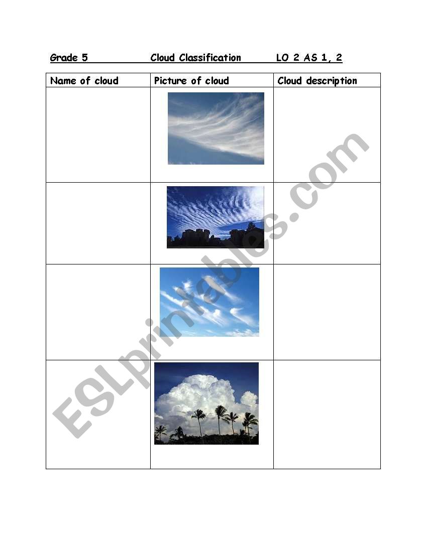 medium resolution of English worksheets: Clouds