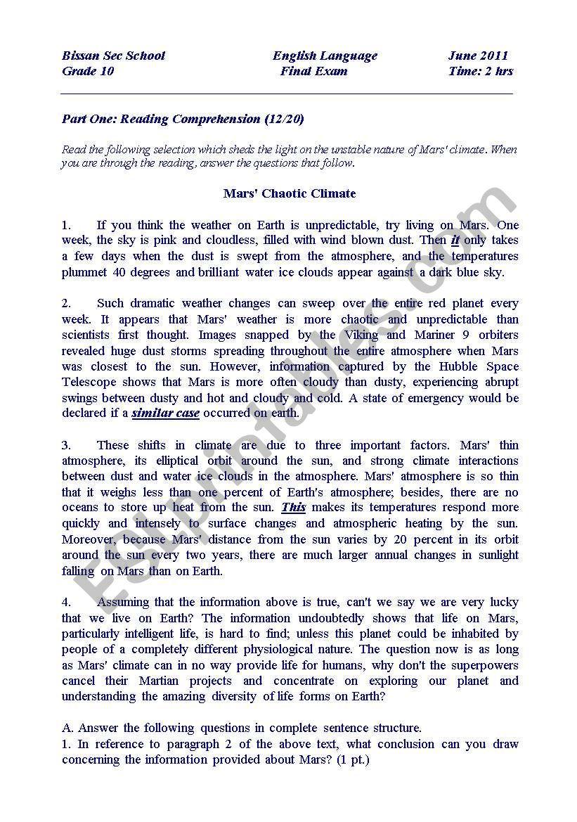 medium resolution of Final Exam for Grade 10 - ESL worksheet by ayag75