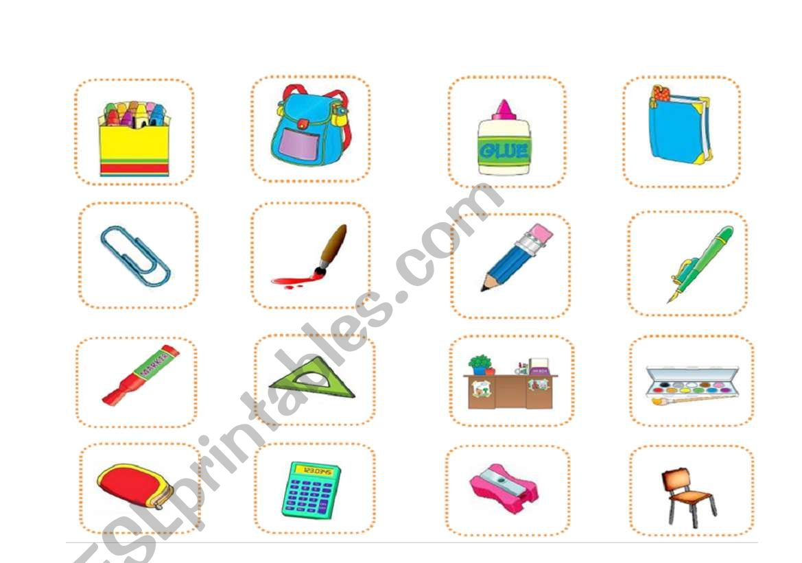 Classroom Objects Memory Game 1 2