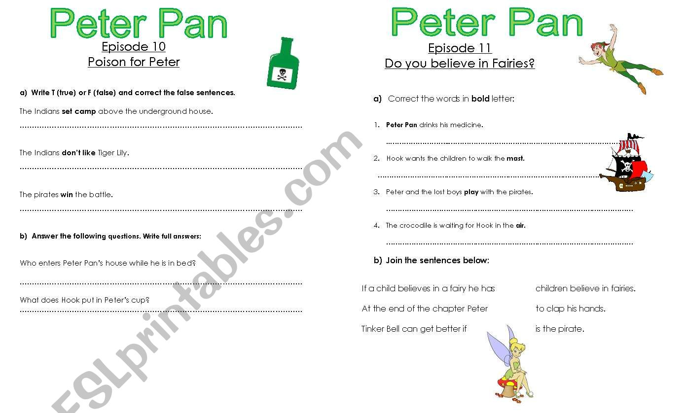 English Worksheets Peter Pan Chapters 10 And 11
